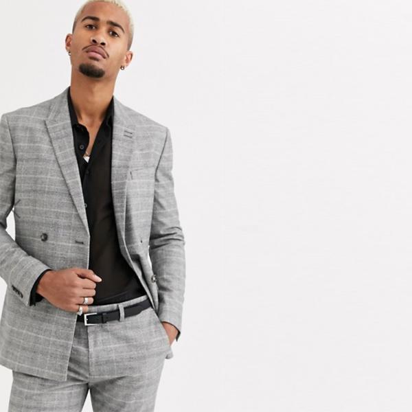 エイソス ASOS 送料無料 ジャケット メンズ グレーチェック トップマンテーラード スーツジャケット スーツ インポート セレブファッション 大きいサイズ 高身長