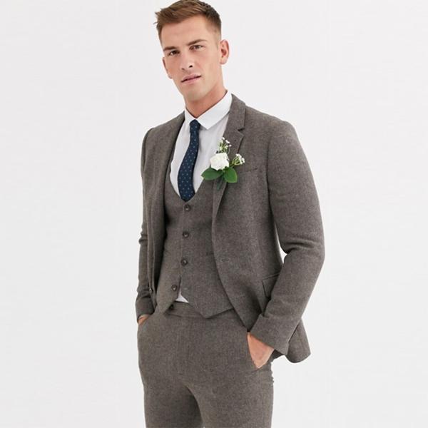 asos エイソス ASOS ウェディング スキニースーツジャケット ウールミックス ヘリンボーン ブラウン スーツ インポート セレブファッション 大きいサイズ 高身長