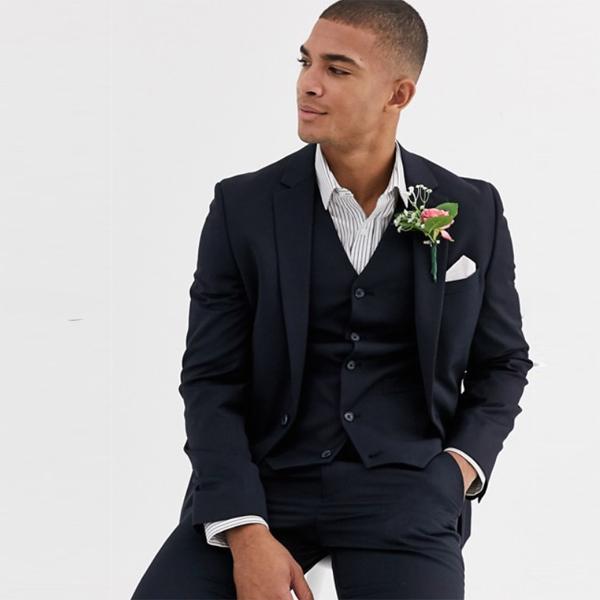 asos エイソス ASOS スキニー ネイビー ウールブレンド ウェディング スキニー スーツジャケット スーツ インポート セレブファッション 大きいサイズ 高身長