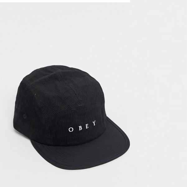 オベイ Obey 5パネル コーデュロイキャップ ブラック コーディネート 20代 30代 40代 ファッション コーディネート