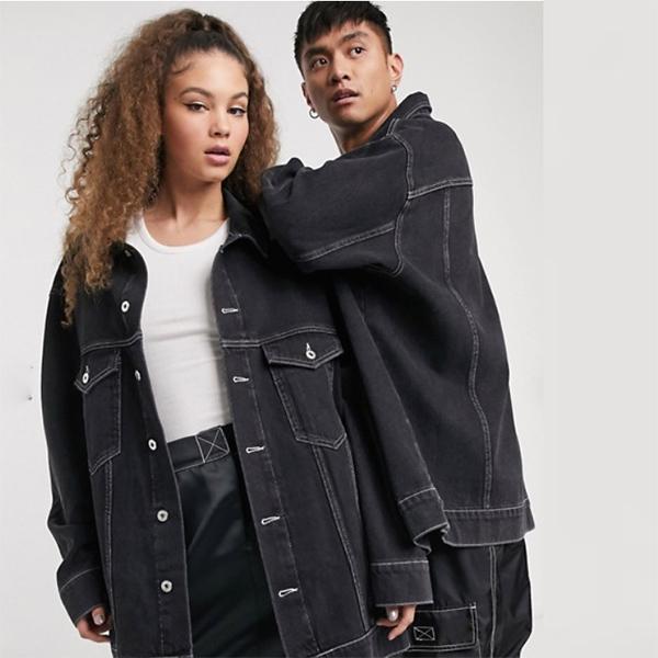 COLLUSION ユニセックス オーバーサイズ ブランド デニムジャケット(ブラック) コーディネート 20代 30代 40代 ファッション コーディネート