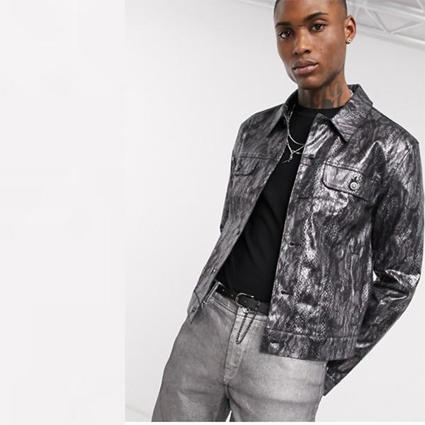 ASOS DESIGN メタリック スネーク スキン ジャケット コーディネート 20代 30代 40代 ファッション コーディネート