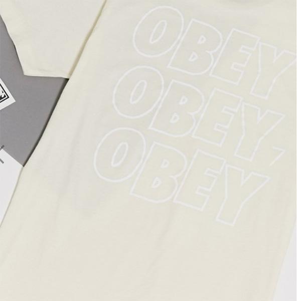 Obey オベイ ジャンプドアイバック プリント Tシャツ ベージュ コーディネート 20代 30代 40代 ファッション コーディネート