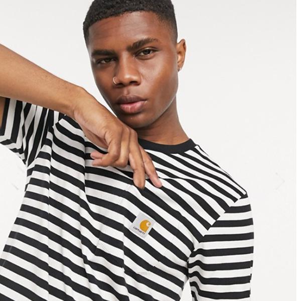カーハート パーカーストライプ ポケット Tシャツ(ホワイト)コーディネート 20代 30代 40代 ファッション コーディネート