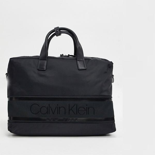 Calvin Klein カルバンクライン ストライプ ロゴラップ トップバッグ(ブラック) 20代 30代 40代 ファッション コーディネート