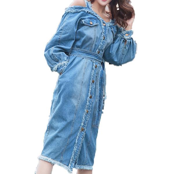 オフショルダー 切りっぱなしデニムワンピース フレア Aライン ミディアムドレス デニム ワンピース デニムワンピ デニムドレス デニム ドレス  ベルト付き 膝丈 ドレス ジーンズドレス ヴィンテージ レトロ M-XL