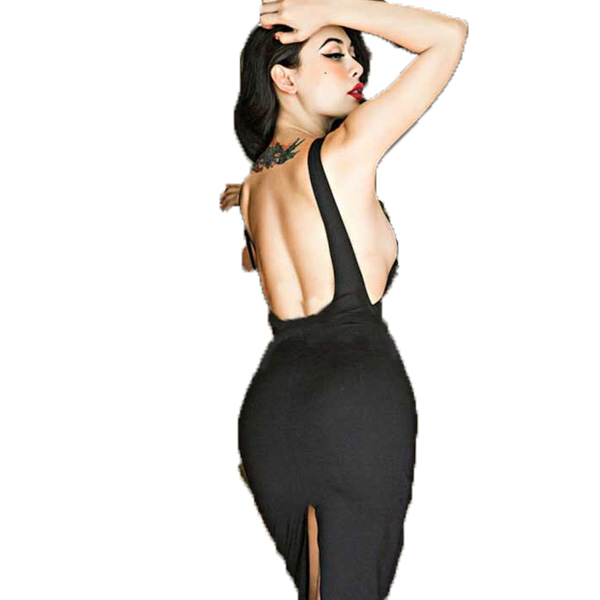バックオープン/バックスリット/タイトライン/ブラック/ミディアムタイトワンピース/大きいサイズ/XS/S/M/Lパーティードレス 30代 結婚式 ドレス ワンピース お呼ばれ 大人 二次会 ミディアムドレス divacloset edm フェス ファッション