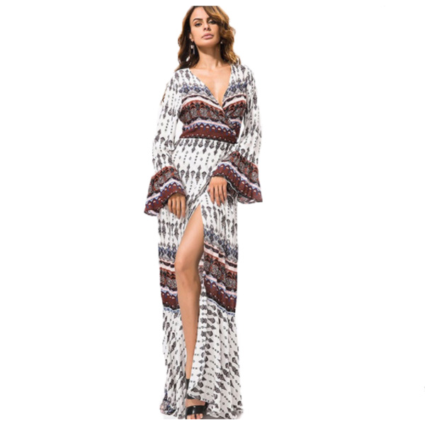 92127243cb03 The maxi dress beach dress maxi dress paisley cover up beach beach dress  beach beach Lady s one size Bohemian ethnic pattern flare sleeve lap dress  which ...