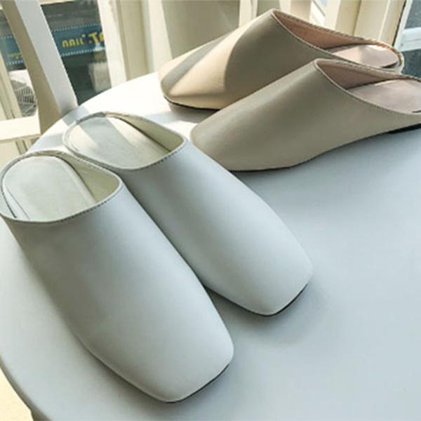 韓国 靴 スリッパフェイクレザー ローヒール 歩きやすい かかとなし つっかけ 大人可愛い カジュアル トレンド フェス 20代 30代 40代 レトロ 海外 レディース diva 春夏秋冬