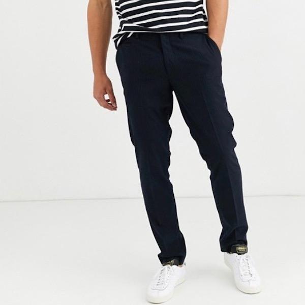 ASOSセレクト asos Selected Homme メンズ ボトム ズボン パンツ ピンストライプ レギュラーフィット ネイビーパンツ 大きいサイズ インポート 20代 30代 40代 ファッション コーディネート 小さいサイズあり