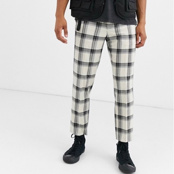 ASOSセレクト Heart & Dagger メンズ ボトム ズボン スリムパンツ スマートパンツ スリムフィット スキニーパンツ グリッドチェック asos エイソス 大きいサイズ インポート 20代 30代 40代 ファッション コーディネート 小さいサイズあり