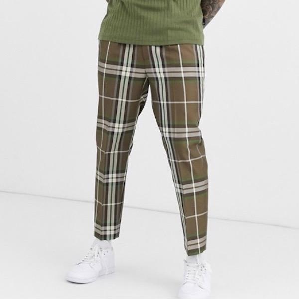 ASOS エイソス asos メンズ ボトム ズボン パンツ スマートパンツ テーパードパンツ チェック レギュラーフィット テーパードフィット 大きいサイズ インポート 20代 30代 40代 ファッション コーディネート 小さいサイズあり