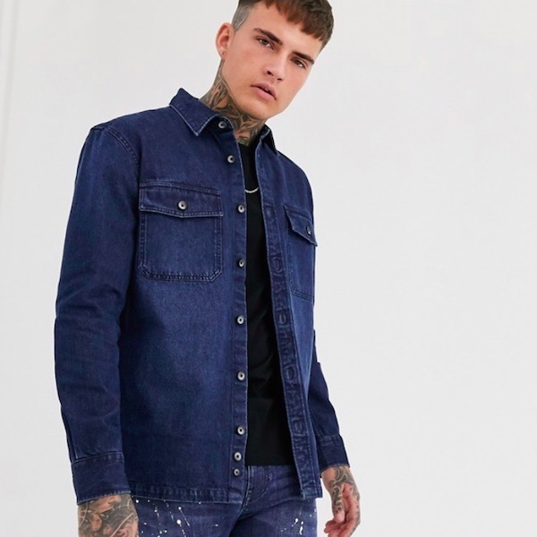 ASOSセレクト Celio メンズ トップス 長袖 シャツ デニムシャツ ワーカーシャツ レギュラーフィット ミッドブルー asos エイソス 20代 30代 40代 ファッション コーディネート小さいサイズから大きいサイズまで オシャレ トレンド インポート