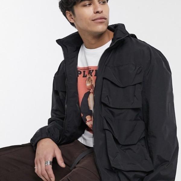 ASOS エイソス asos メンズ アウター コート ジャケット ファンネル ネック パーカー フード 長袖 インポート 大きいサイズ 20代 30代 40代