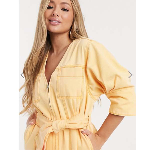 ASOS DESIGN デニム オレンジ ウォッシュ vネック ベルト付き ドレス 小さいサイズあり 大人カジュアル 大きいサイズあり 30代 40代 20代 お呼ばれ インポート ワンピース キャバ レトロ 高身長