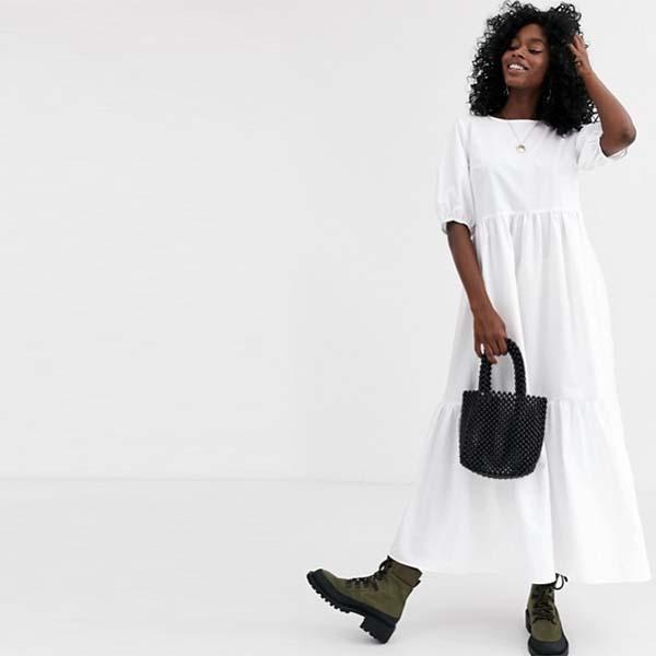 ASOS DESIGN ティアード コットン ポプリン スモック ミディドレス(ホワイト) 20代 30代 40代 ファッション コーディネート 小さいサイズから大きいサイズまでオシャレ トレンド インポート トレンド