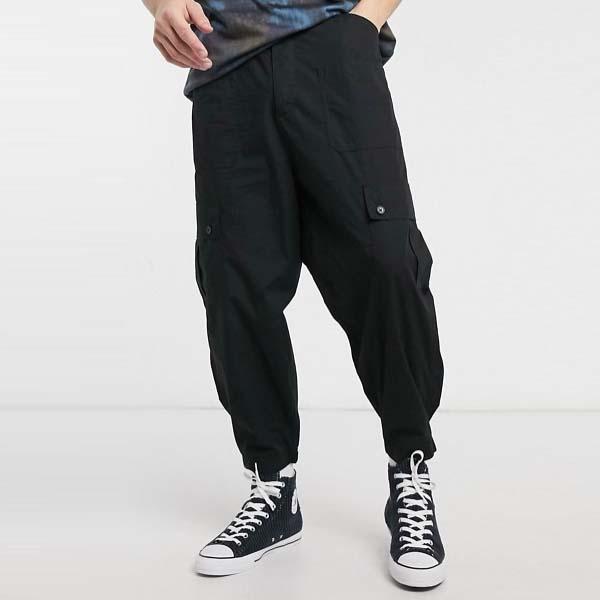 ASOS DESIGN ワイド レッグ カーゴ パンツ(ブラック) メンズ 男性 小さいサイズから大きいサイズまで 20代 30代 40代 ファッション コーディネート