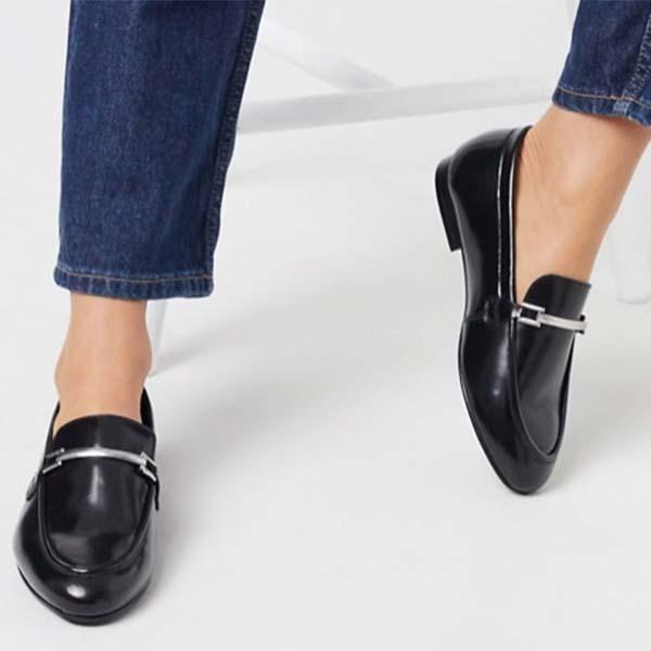 ASOS DESIGN ワイドフィット Mariot レザー チェーン ローファー(ブラック)レディース 女性 20代 30代 40代 diva 大きいサイズあり 小さいサイズあり 高身長