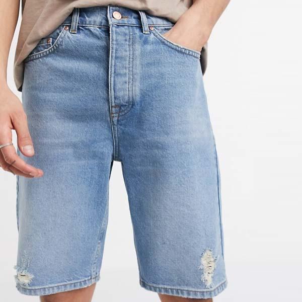ASOS DESIGN スリム パパショート ミッドウォッシュブルー 20代 30代 40代 ファッション コーディネート 小さいサイズから大きいサイズまでオシャレ トレンド インポート トレンド