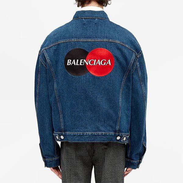 BALENCIAGA バレンシアガ 刺繍 クレジットカード ロゴ デニム ジャケット メンズ 長袖 ロングスリーブ フェス トレンド インポート 大きいサイズあり 流行 最新 メンズカジュアル