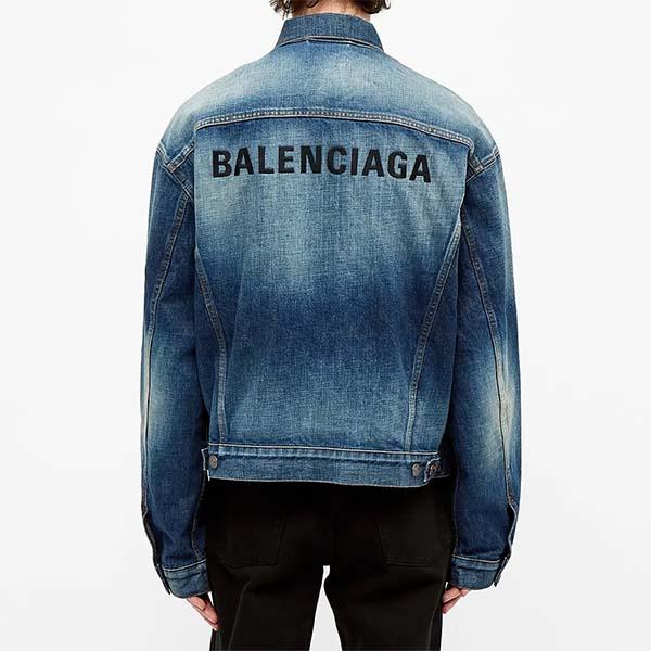 BALENCIAGA バレンシアガ 刺繍 ロゴ デニム ジャケット メンズ 長袖 ロングスリーブ フェス トレンド インポート 大きいサイズあり 流行 最新 メンズカジュアル