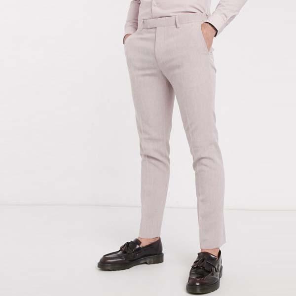 River Island スキニー スーツ パンツ(ライトピンク) メンズ 男性 小さいサイズから大きいサイズまで 20代 30代 40代 ファッション コーディネート