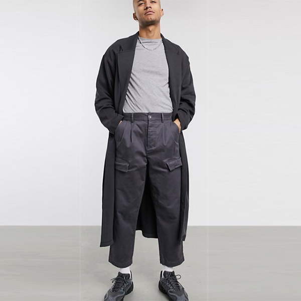 ASOS DESIGN ウォッシュドブラック オーバーサイズ ロング ライン ジャージー ダスター ジャケット 小さいサイズから大きいサイズあり 30代 40代 20代 高身長 春夏秋冬