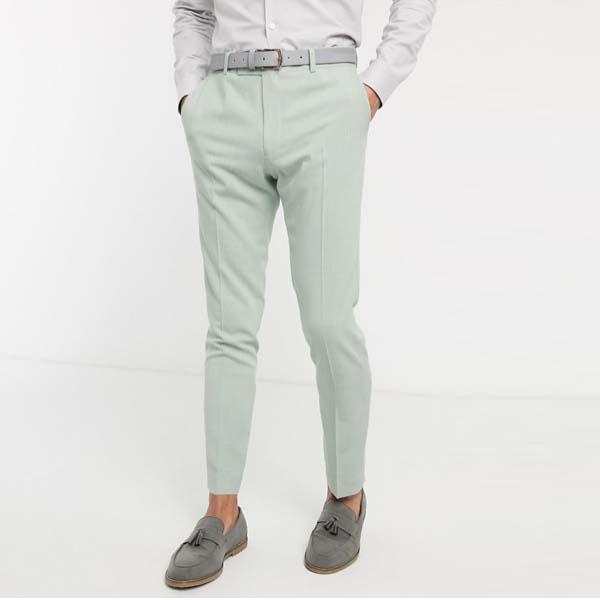 ASOS DESIGN ウェディング スキニー スーツパンツ(ハッチ ミントグリーン) メンズ 男性 小さいサイズから大きいサイズまで 20代 30代 40代 ファッション コーディネート