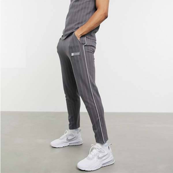 Couture Club ピンストライプ スマート テーパード ジョガー パンツ メンズ 男性 小さいサイズから大きいサイズまで 20代 30代 40代 ファッション コーディネート