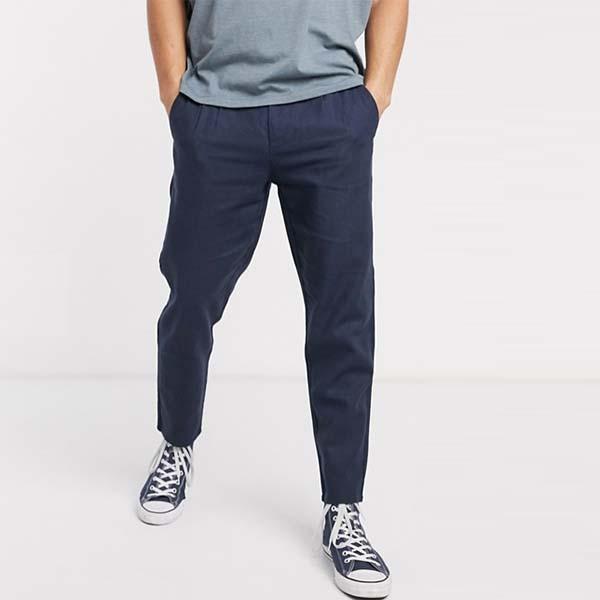 Only&Sons ドロー ストリング リネン ミックス パンツ(ネイビー) メンズ 男性 小さいサイズから大きいサイズまで 20代 30代 40代 ファッション コーディネート