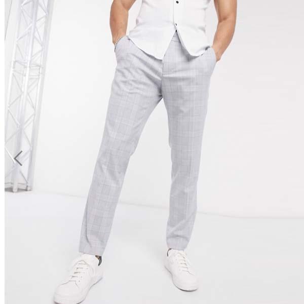 エスプリ スリム スーツ パンツ(ブルー グレー チェック) メンズ 男性 小さいサイズから大きいサイズまで 20代 30代 40代 ファッション コーディネート