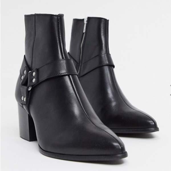ASOS DESIGN ヒール チェルシー ブーツ ストラップ付き ディテール付き ブラック レザー メンズ 男性 小さいサイズから大きいサイズまで 20代 30代 40代 ファッション コーディネート