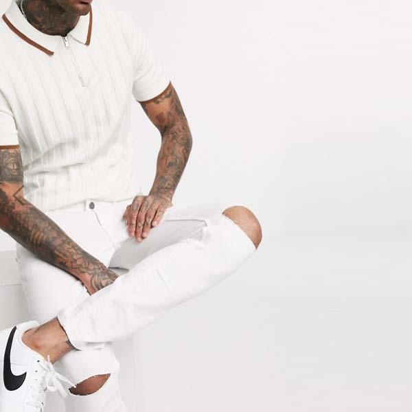 スキニー フィット ホワイト オンリー&サンズ ジーンズ メンズ 男性 小さいサイズから大きいサイズまで 20代 30代 40代 ファッション コーディネート