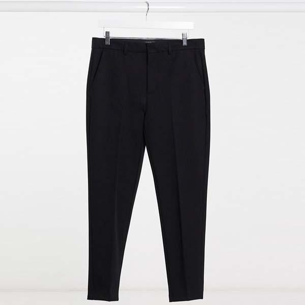 River Island テーパード スマート パンツ(ブラック) メンズ 男性 小さいサイズから大きいサイズまで 20代 30代 40代 ファッション コーディネート
