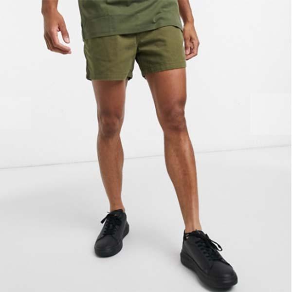 オム ドローストリング ウエスト ショート カーキ パンツ メンズ 男性 小さいサイズから大きいサイズまで 20代 30代 40代 ファッション コーディネート