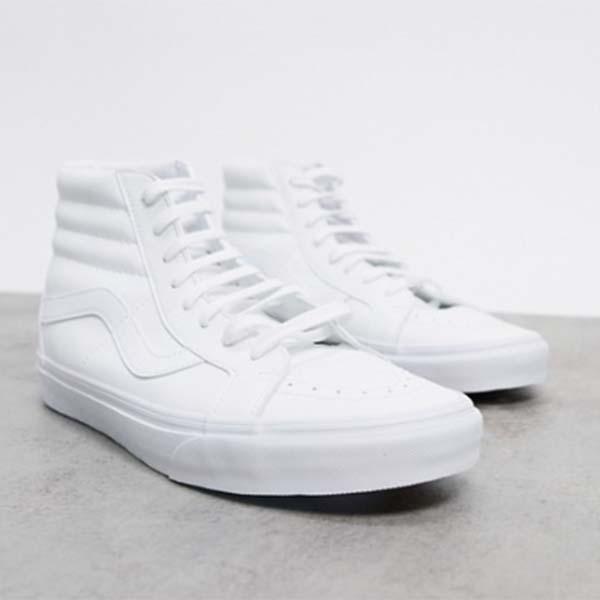 Vans SK8-Hi Reissueトレーナー ホワイト フェイクレザー 靴 メンズ 男性 小さいサイズから大きいサイズまで 20代 30代 40代 ファッション コーディネート