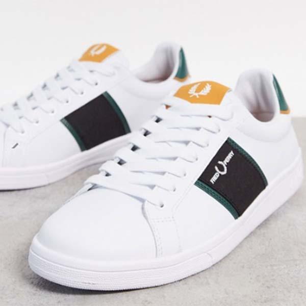 フレッドペリー B721 レザー トレーナー パネル ロゴ ホワイト 靴 メンズ 男性 小さいサイズから大きいサイズまで 20代 30代 40代 ファッション コーディネート