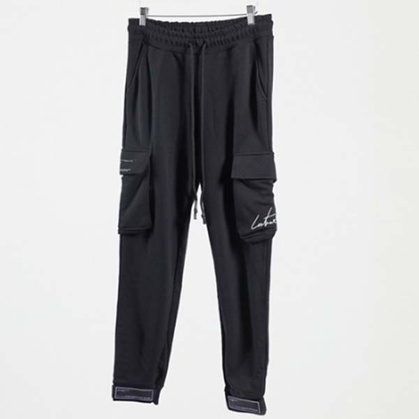 クチュールクラブ ラバーバッジ カーゴ ジョガー ブラック メンズ 男性 小さいサイズから大きいサイズまで 20代 30代 40代 ファッション コーディネート