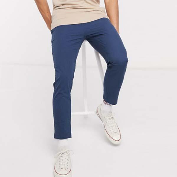Only&Sons クロップ シアサッカー ストライプ パンツ ボトム メンズ 男性 小さいサイズから大きいサイズまで 20代 30代 40代 ファッション コーディネート