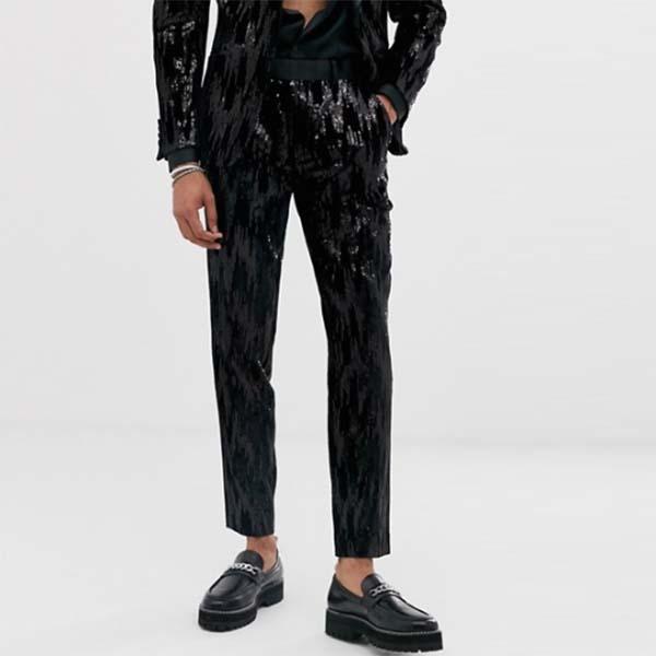 ASOS DESIGN ブラック ベルベット スパンコール スキニー スーツ パンツ ボトムのみ メンズ 男性 小さいサイズから大きいサイズまで 20代 30代 40代 ファッション コーディネート
