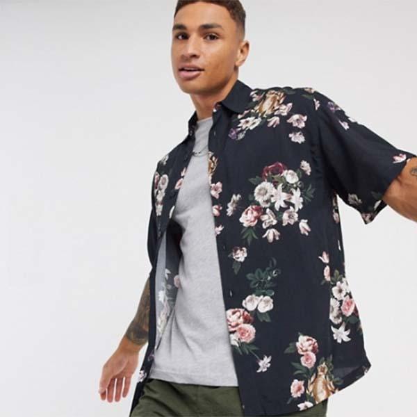 Siksilk フローラル プリント シャツ(ブラック) メンズ 男性 小さいサイズから大きいサイズまで 20代 30代 40代 ファッション コーディネート