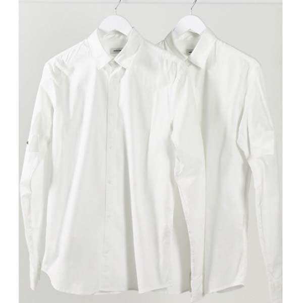 Jack&Jones 2パック シャツ ストレッチ ホワイト メンズ 男性 小さいサイズから大きいサイズまで 20代 30代 40代 ファッション コーディネート