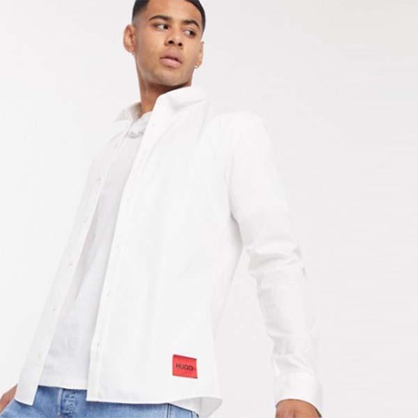 HUGO Ero3 スリム フィット シャツ(ホワイト) メンズ 男性 小さいサイズから大きいサイズまで 20代 30代 40代 ファッション コーディネート