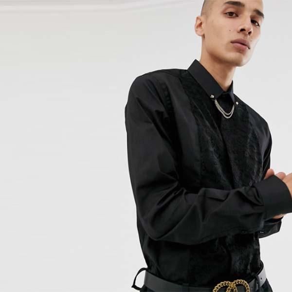 ツイスト テーラー スキニーシャツ レース インサート ゴールド カラー チェーン ブラック メンズ 男性 小さいサイズから大きいサイズまで 20代 30代 40代 ファッション コーディネート
