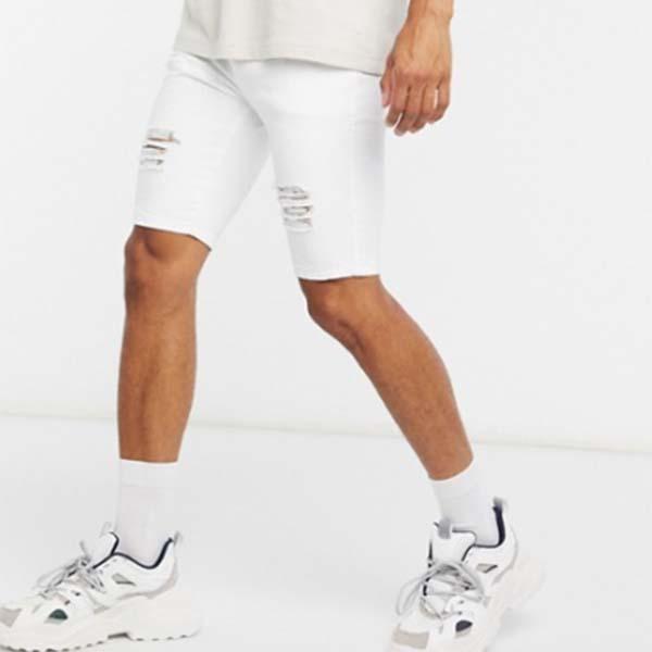 Siksilk 伸縮性 ウエスト ホワイト ユーズド加工 デニム ショーツ メンズ 男性 小さいサイズから大きいサイズまで 20代 30代 40代 ファッション コーディネート