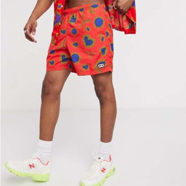 赤 アメーバ イージー リラックス ペイズリー プリント ショーツ パンツ メンズ 男性 小さいサイズから大きいサイズまで 20代 30代 40代 ファッション コーディネート