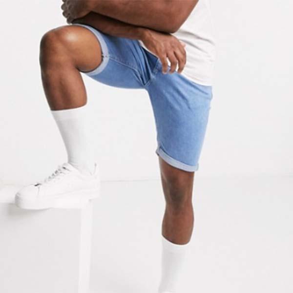 River Island ライトブルー スキニー デニム ショーツ パンツ メンズ 男性 小さいサイズから大きいサイズまで 20代 30代 40代 ファッション コーディネート