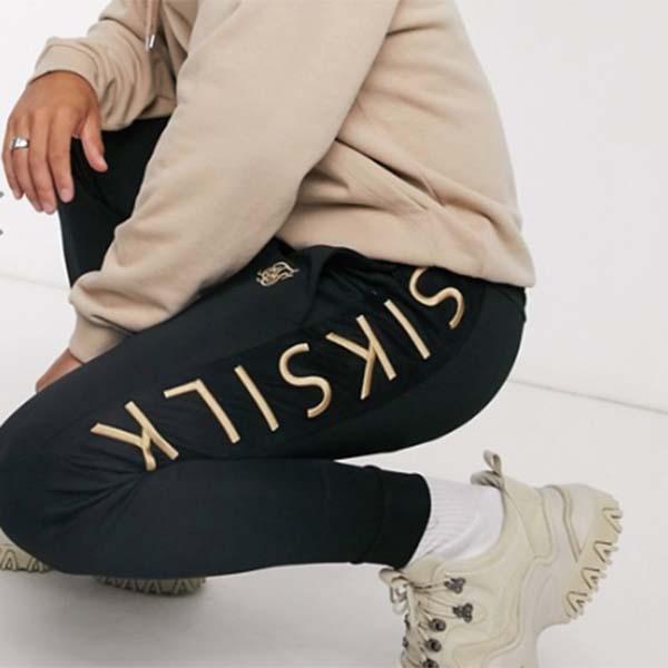 Siksilk フィット パネル カフ ジョガー ブラック パンツ メンズ 男性 小さいサイズから大きいサイズまで 20代 30代 40代 ファッション コーディネート