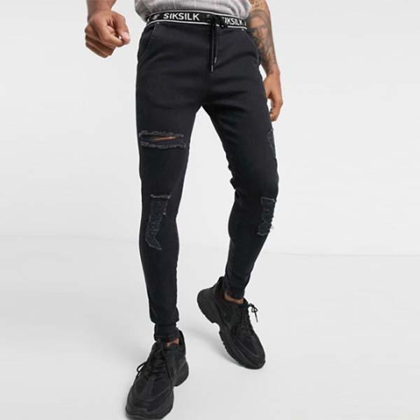 Siksilk 伸縮性 ウエスト スキニー ディストレス デニム ジーンズ(ブラック) パンツ メンズ 男性 小さいサイズから大きいサイズまで 20代 30代 40代 ファッション コーディネート