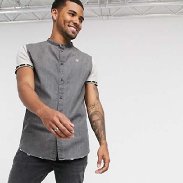 コントラスト スリーブ付き グレー Siksilk 半袖 デニム シャツ メンズ 男性 小さいサイズから大きいサイズまで 20代 30代 40代 ファッション コーディネート